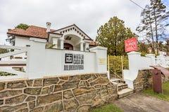 坎波斯做JORDAO,巴西- 2017年7月03日:木刻房子博物馆 免版税库存照片