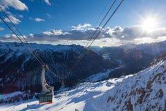 坎皮泰洛迪法萨在Val加迪纳谷的滑雪胜地 库存图片