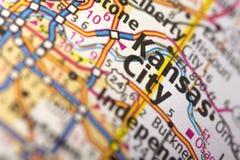 坎萨斯城,地图的密苏里 库存图片