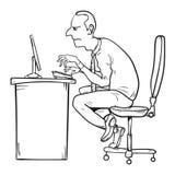 坏坐姿作为办公室综合症状的原因 库存例证