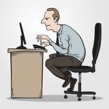 坏坐姿作为办公室综合症状的原因 库存照片