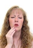 坏白种人牙痛妇女 免版税库存图片