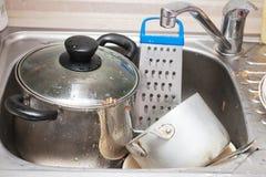 坏的平底锅罐水槽 库存图片