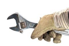 坏的手套皮革活动扳手 库存图片