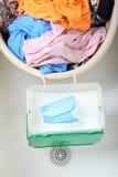 坏的洗衣店堆洗涤物 库存照片
