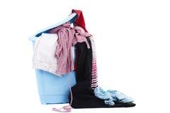 坏的洗衣店篮子在白色的 库存图片
