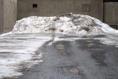 坏的空的批次堆雪 免版税库存照片