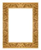 坏的长方形框架金黄grunge老的照片 免版税库存照片