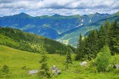 坏Gastein,从Schlossalm到巴特霍夫加施泰因, Sclossalmsee,缆索铁路,奥地利的方式 库存图片