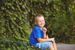 坐与一本书的男孩在围场 库存照片