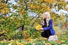 坐与叶子的美丽的端庄的妇女在一个公园在秋天 免版税库存图片