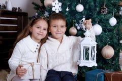 坐与灯笼的两个孩子在圣诞树下 图库摄影