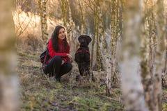 坐与狗的女孩在桦树森林里 免版税库存照片