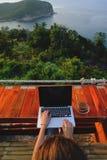 坐与膝上型计算机和一杯咖啡的妇女在日落视图前面的 免版税库存图片