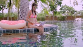 坐与膝上型计算机的年轻女性自由职业者在水池附近 繁忙在假日期间 遥远的工作的概念 股票录像