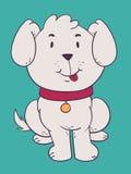 坐与舌头的逗人喜爱的狗 图库摄影