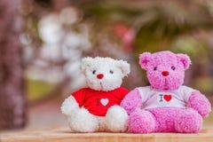 坐两头熊的玩偶一起,华伦泰` s天和爱概念 免版税库存图片