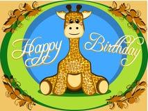 坐为与黄色和绿色传染媒介的孩子的一头逗人喜爱的被充塞的长颈鹿的幼稚生日贺卡 向量例证