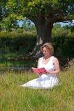 坐了读书的妇女在草甸 免版税库存图片