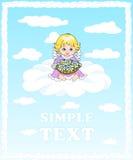 坐云彩和拿着花的篮子天使 库存照片