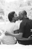 坐和亲吻在森林里的爱恋的夫妇画象  库存照片