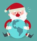坐和拿着世界的逗人喜爱的圣诞老人 向量例证