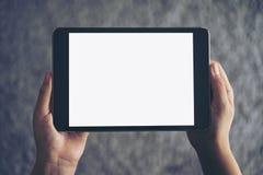 坐和拿着有空白的白色屏幕的妇女的大模型图象黑片剂个人计算机有灰色地毯的 库存照片