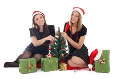 坐和装饰结构树的二个女孩 免版税库存照片