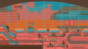 坐和走在机场终端,商务旅游概念的商人 平的设计传染媒介例证 库存照片