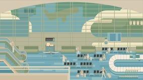 坐和走在机场终端,商务旅游概念的商人 平的设计例证 免版税库存图片