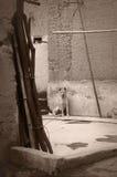 坐在一个围场的狗 库存照片