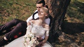 坐在一棵树下的美好的年轻夫妇在倾斜并且闭上他的眼睛享用momen的女孩在她的男朋友的森林里 股票视频