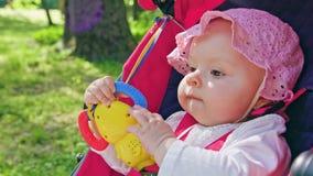 坐在一辆婴儿推车的婴孩` s在公园 免版税图库摄影