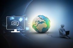 坐在与膝上型计算机的地球附近的人 免版税库存照片