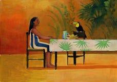 坐在与toucan的桌上的妇女 免版税库存图片