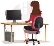 坐在个人计算机的女孩 皇族释放例证