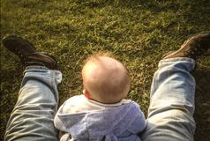坐在他的父亲腿之间的草的男婴 图库摄影