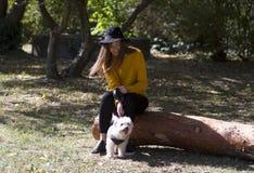 坐在公园的一个微笑的女孩观看一点白色ddog 库存图片