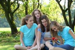 坐在公园的小组女孩 免版税图库摄影