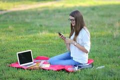 坐在公园,微笑和工作在他的膝上型计算机的女孩,听到音乐 免版税库存图片