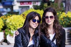坐在公园,微笑和拥抱的美丽的姐妹 库存图片