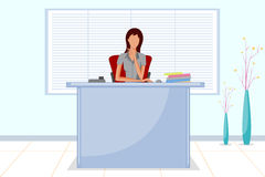 坐在办公室招待会的美丽的公司妇女 库存图片