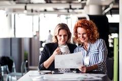 坐在办公室的两个女性商人,谈话 图库摄影