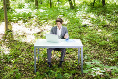 坐在办公桌的年轻英俊的商人画象在绿色公园或森林和工作在膝上型计算机 到达天空的企业概念金黄回归键所有权 图库摄影