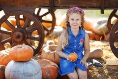 坐在南瓜之间的愉快的学校女孩在地方农夫市场上在晴朗的秋天天 免版税库存照片