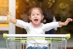 坐在台车的微笑的小孩女孩在家庭购物期间在市场上 免版税库存照片