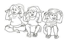 坐在叶子下的孩子 库存照片