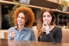 坐在咖啡馆和饮用水的两名妇女 库存照片