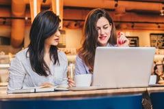坐在咖啡馆在桌上和使用膝上型计算机,工作的两名年轻女实业家, blogging 女孩看显示器 库存图片