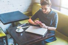 坐在咖啡馆的年轻女商人在桌和用途智能手机上 在桌上是闭合的膝上型计算机、笔记本和咖啡 库存图片